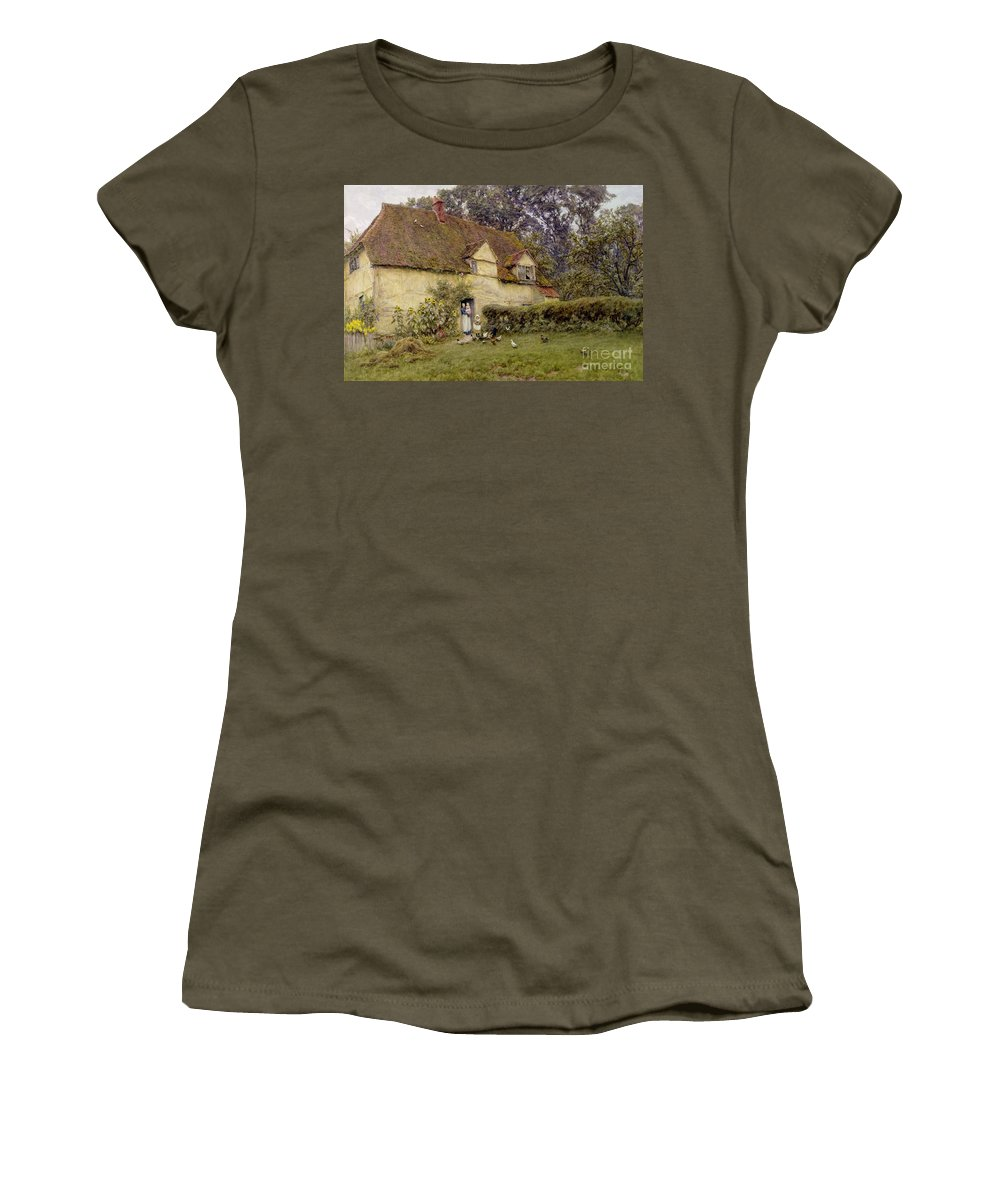 Fowl; Cottage; Victorian; Garden; House; Dormer Window; Sunflower; Child; Rural Women's T-Shirt featuring the painting Feeding The Fowls by Helen Allingham