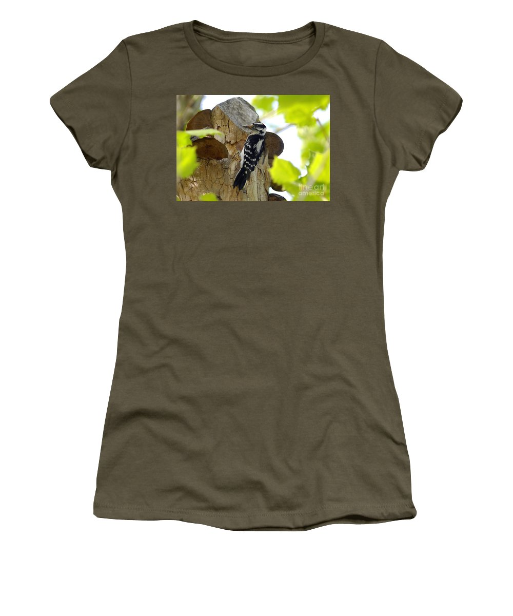 Downy Woodpecker Women's T-Shirt (Athletic Fit) featuring the photograph Feeding Time by David Lee Thompson