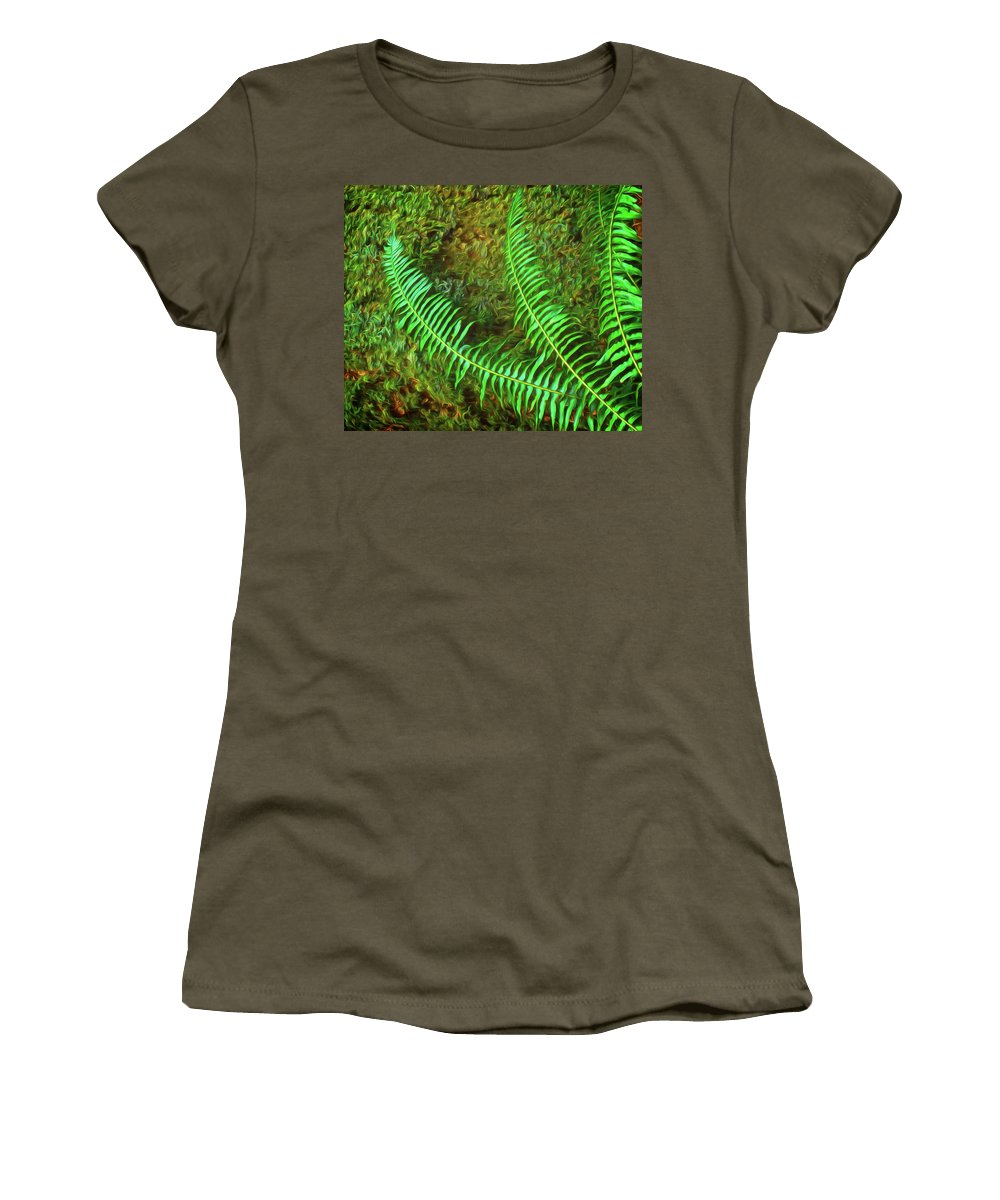 Fern Women's T-Shirt featuring the digital art Fern Fronds On Mossy Log by Richard Farrington