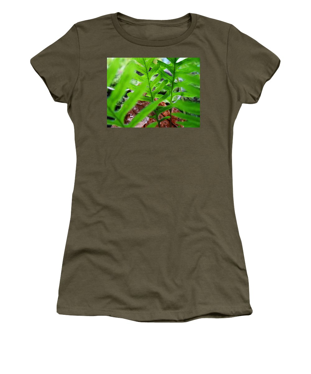 Fern Women's T-Shirt (Athletic Fit) featuring the photograph Ferns Art Prints Forest Ferns Giclee Art Prints Basle Troutman by Baslee Troutman