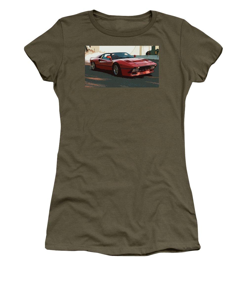 Ferrari Women's T-Shirt (Athletic Fit) featuring the painting Ferrari 288 Gto - Powerslide by Andrea Mazzocchetti