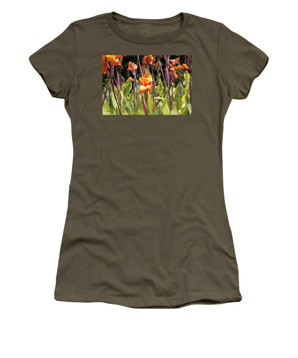 Floral Women's T-Shirt (Athletic Fit) featuring the photograph Field For Iris by Shelley Jones