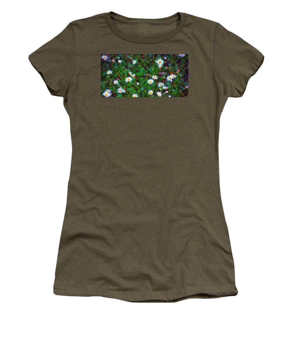 Digital Photograph Women's T-Shirt featuring the photograph Field Of Daisys by David Lane