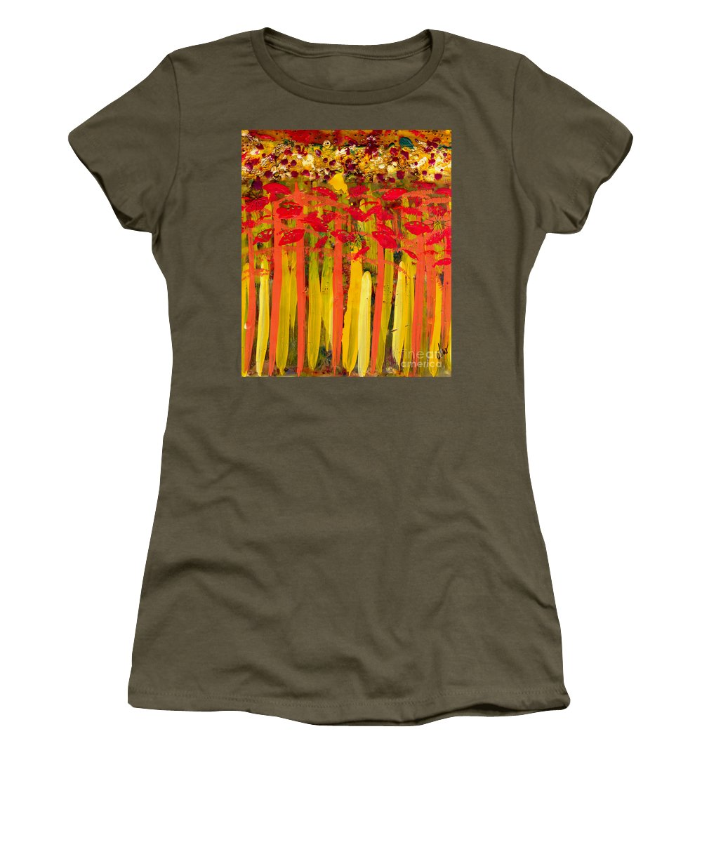 Wood Women's T-Shirt featuring the mixed media Field Of Flowers by Angela L Walker