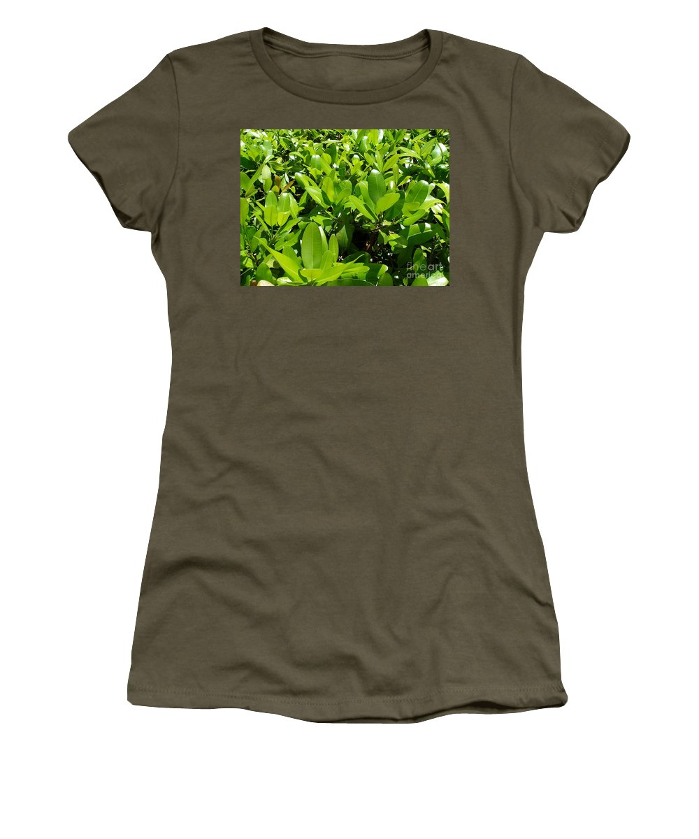 Shrub Women's T-Shirt (Athletic Fit) featuring the photograph Field Of Green by Maria Bonnier-Perez