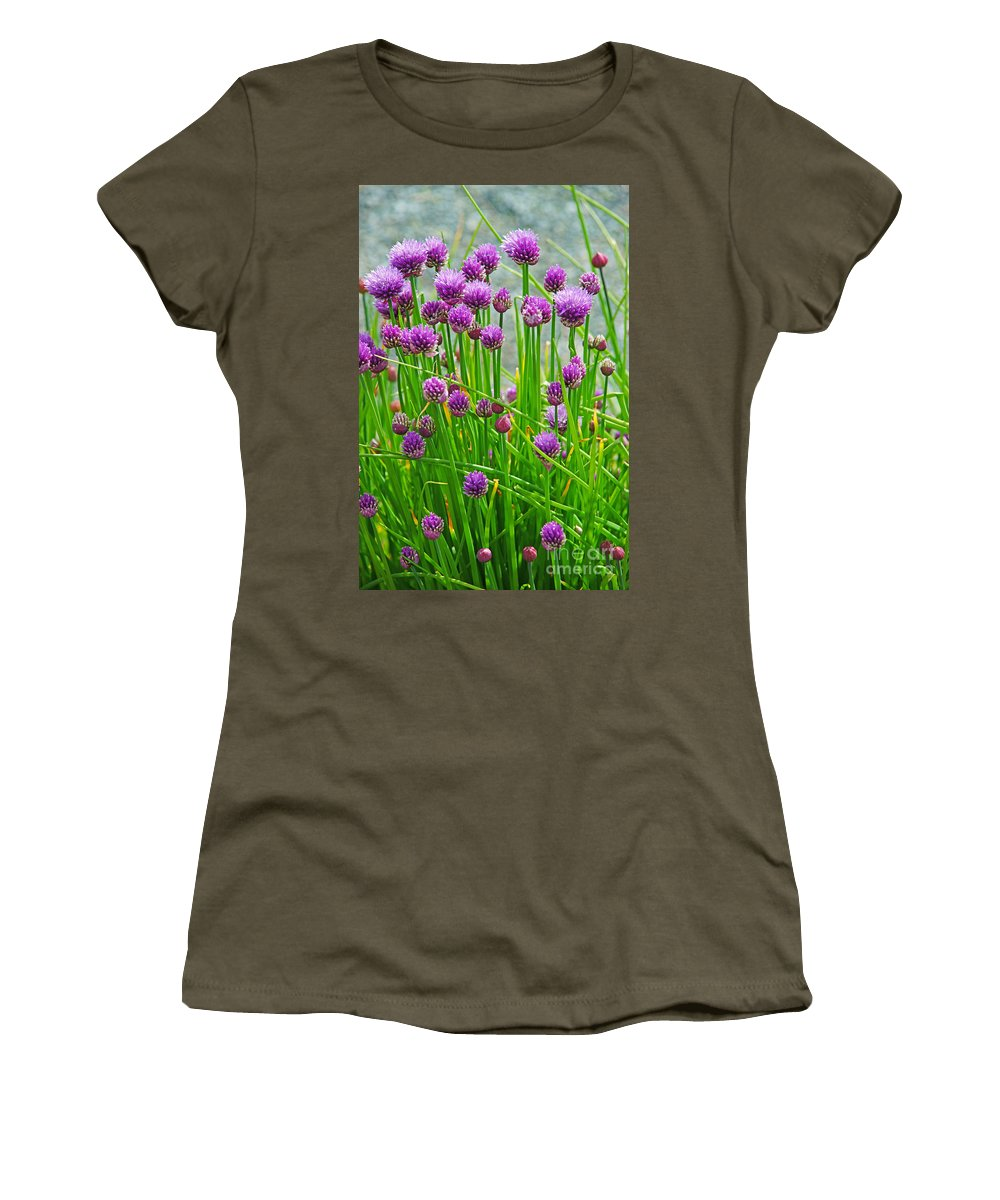 Flowers Women's T-Shirt featuring the photograph Field Of Onions by Randy Harris