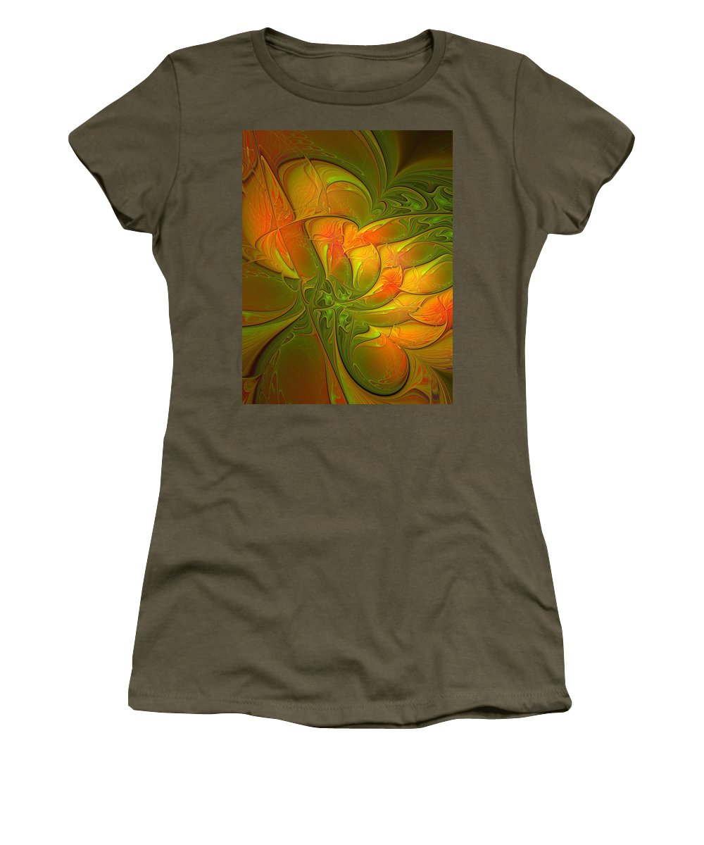 Digital Art Women's T-Shirt (Athletic Fit) featuring the digital art Fiery Glow by Amanda Moore