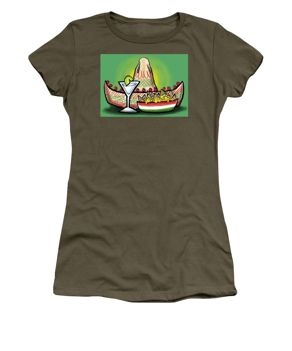 Fiesta Women's T-Shirt (Athletic Fit) featuring the greeting card Fiesta by Kevin Middleton