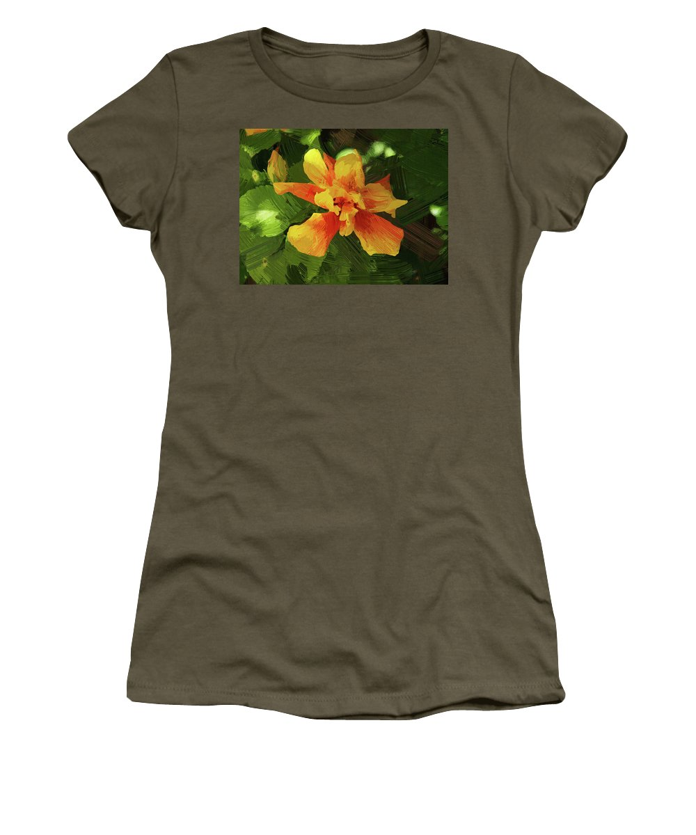 Hibiscus Women's T-Shirt featuring the photograph Fijian Hibiscus Abstract In Del Mar 1 by Kenneth Roberts