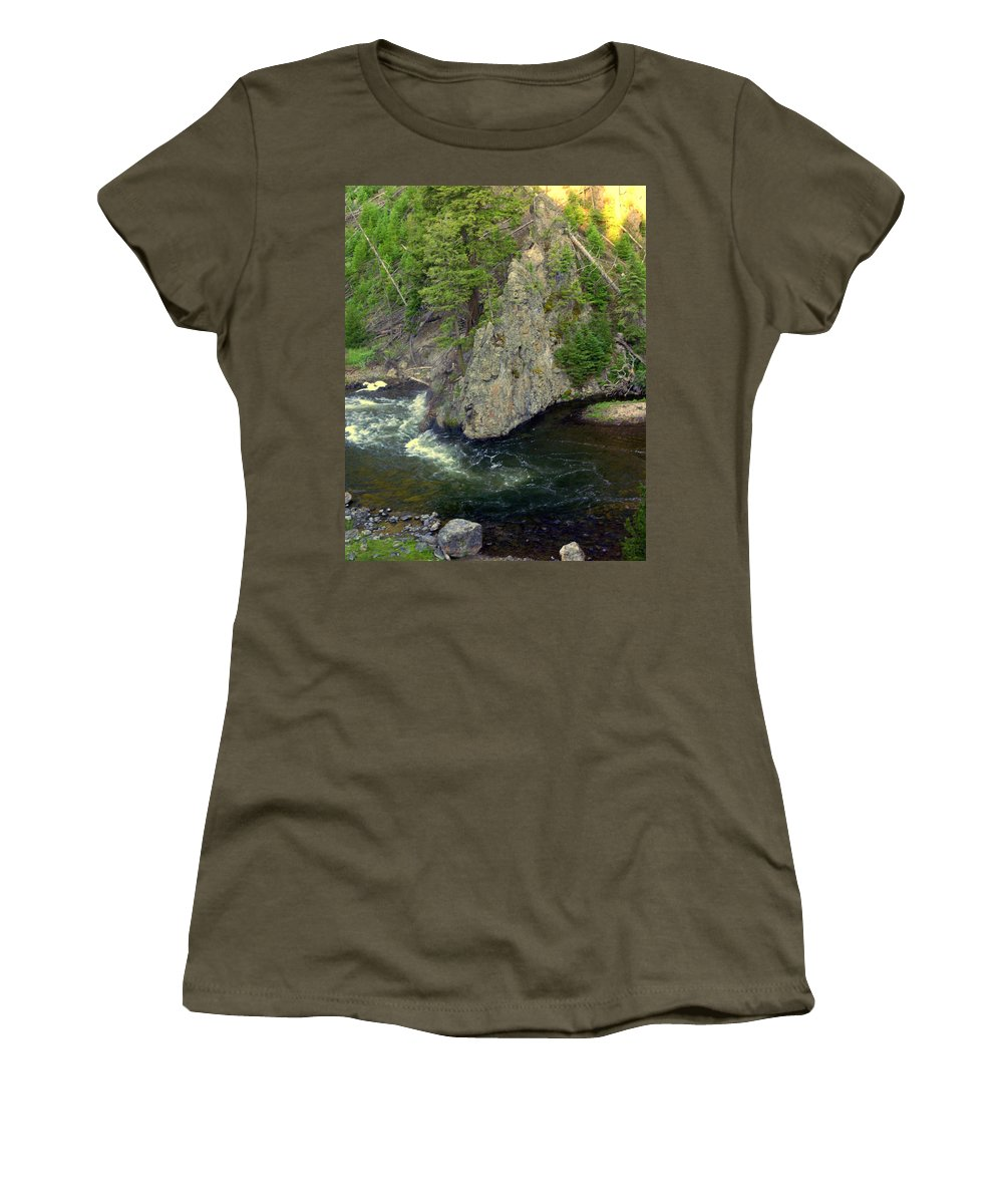 Firehole River Women's T-Shirt featuring the photograph Fin On The Firehole by Marty Koch