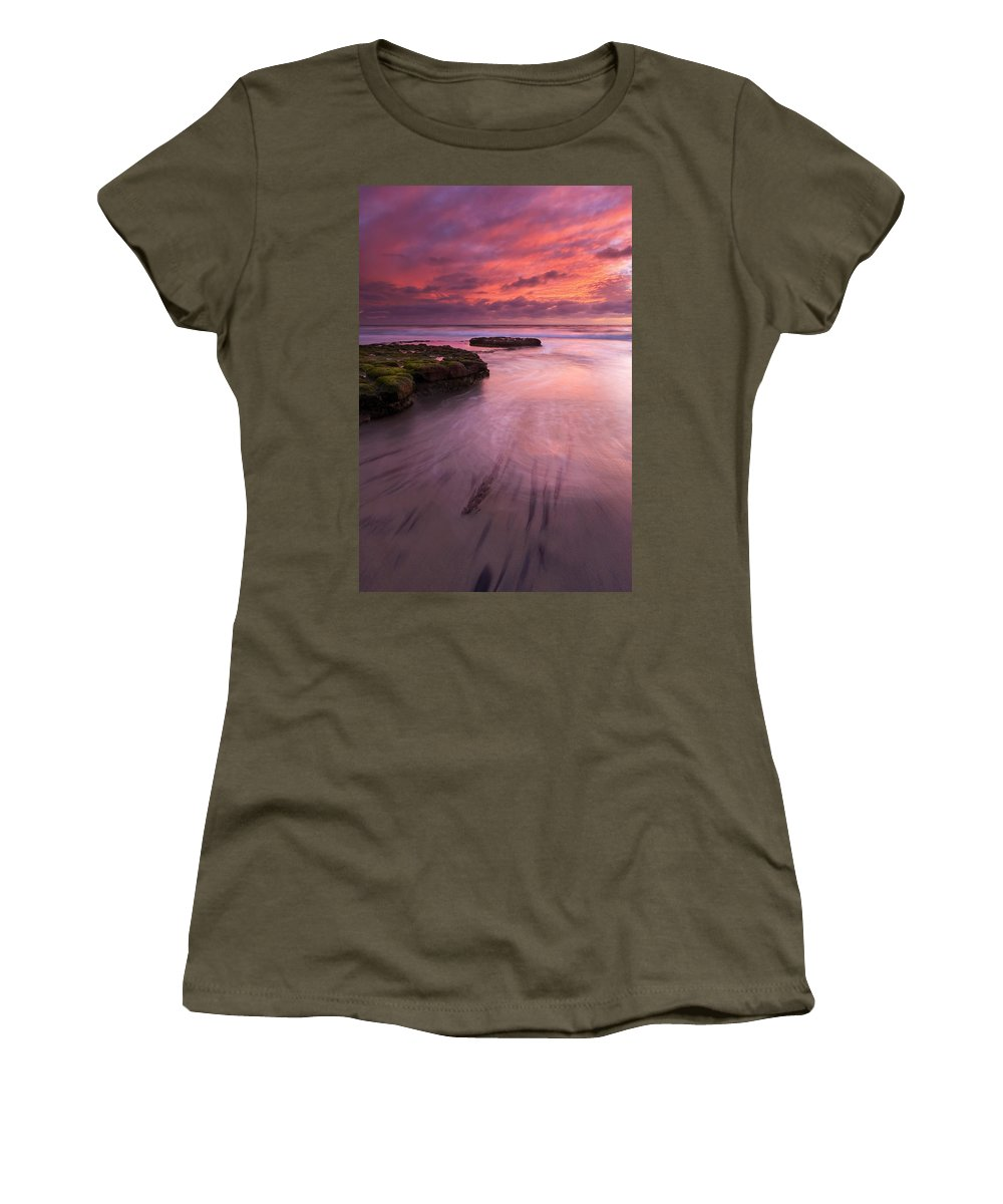 Sunset Women's T-Shirt featuring the photograph Fingers Of The Tide by Mike Dawson