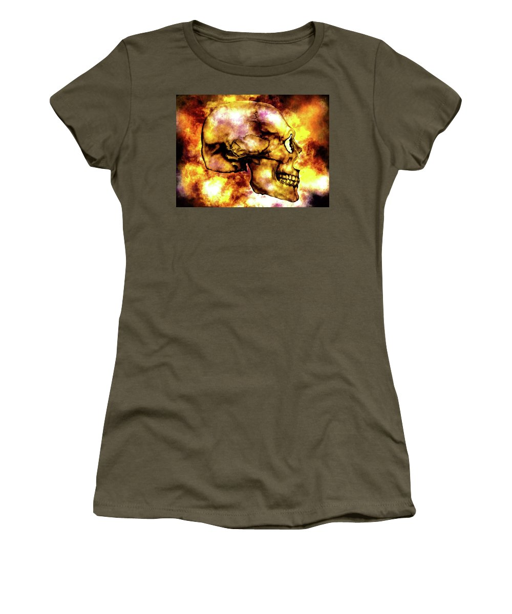 Skull Women's T-Shirt featuring the mixed media Fire And Skull by Lisa Stanley