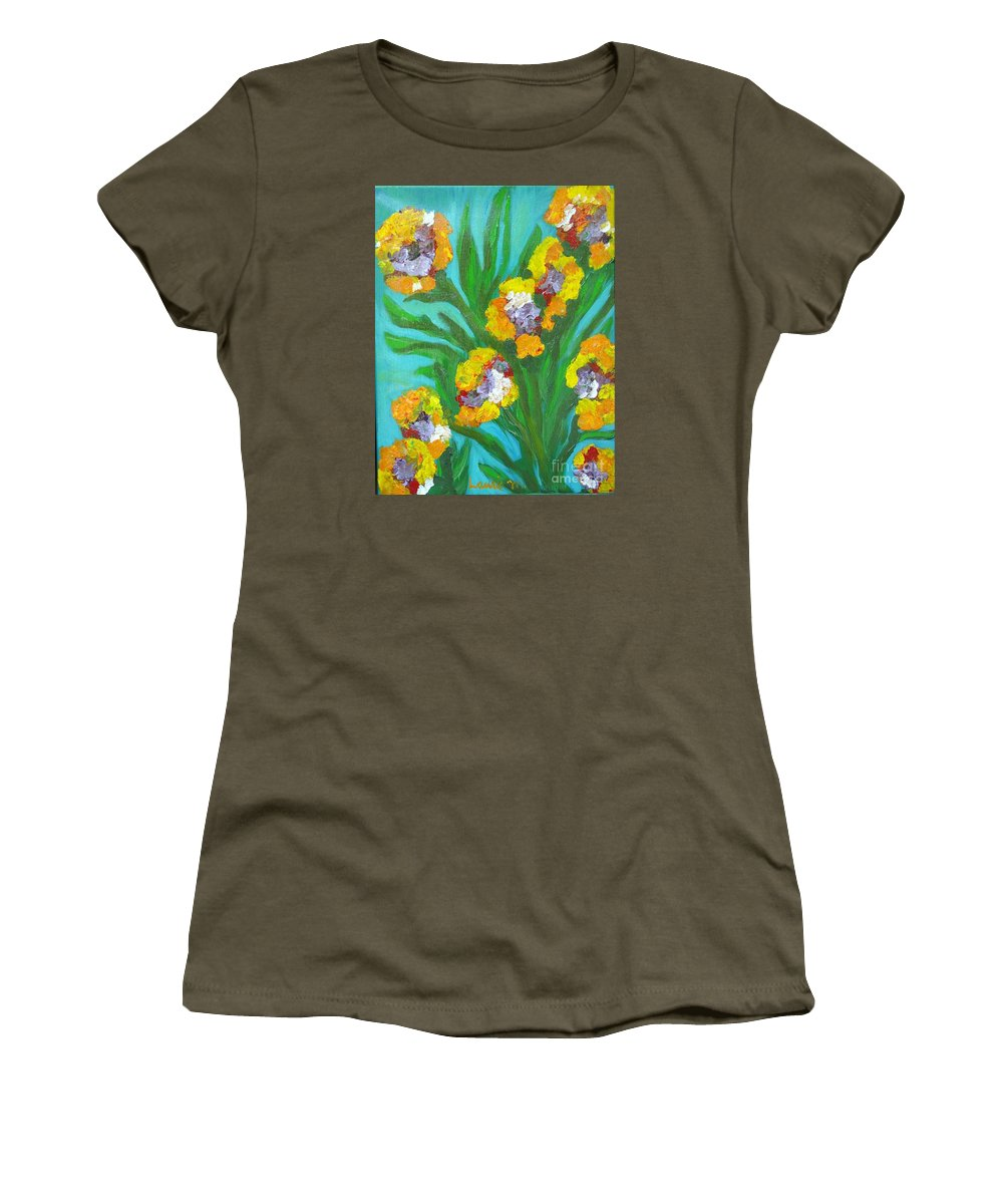 Flower Women's T-Shirt (Athletic Fit) featuring the painting Fire Blossoms by Laurie Morgan