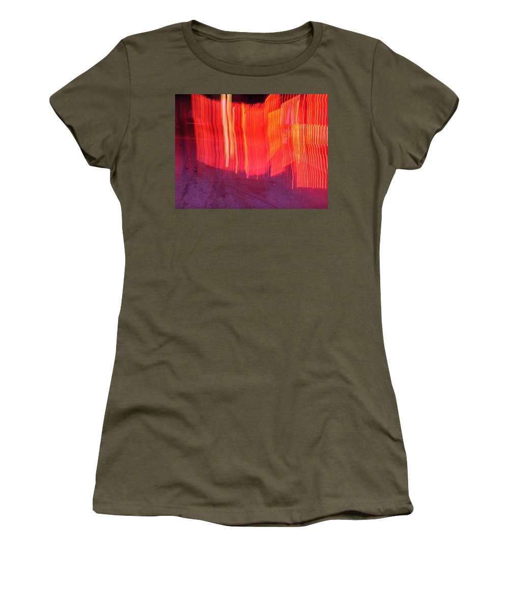 Photograph Women's T-Shirt featuring the photograph Fire Fence by Thomas Valentine