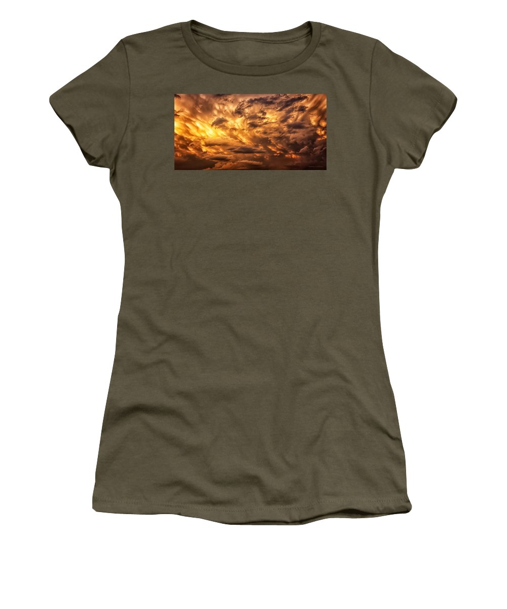 Fire Women's T-Shirt featuring the photograph Fire In The Sky by Steve Sullivan