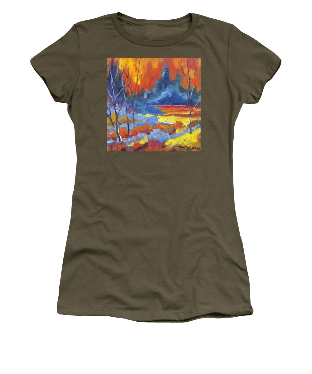 Art Women's T-Shirt featuring the painting Fire Lake by Richard T Pranke