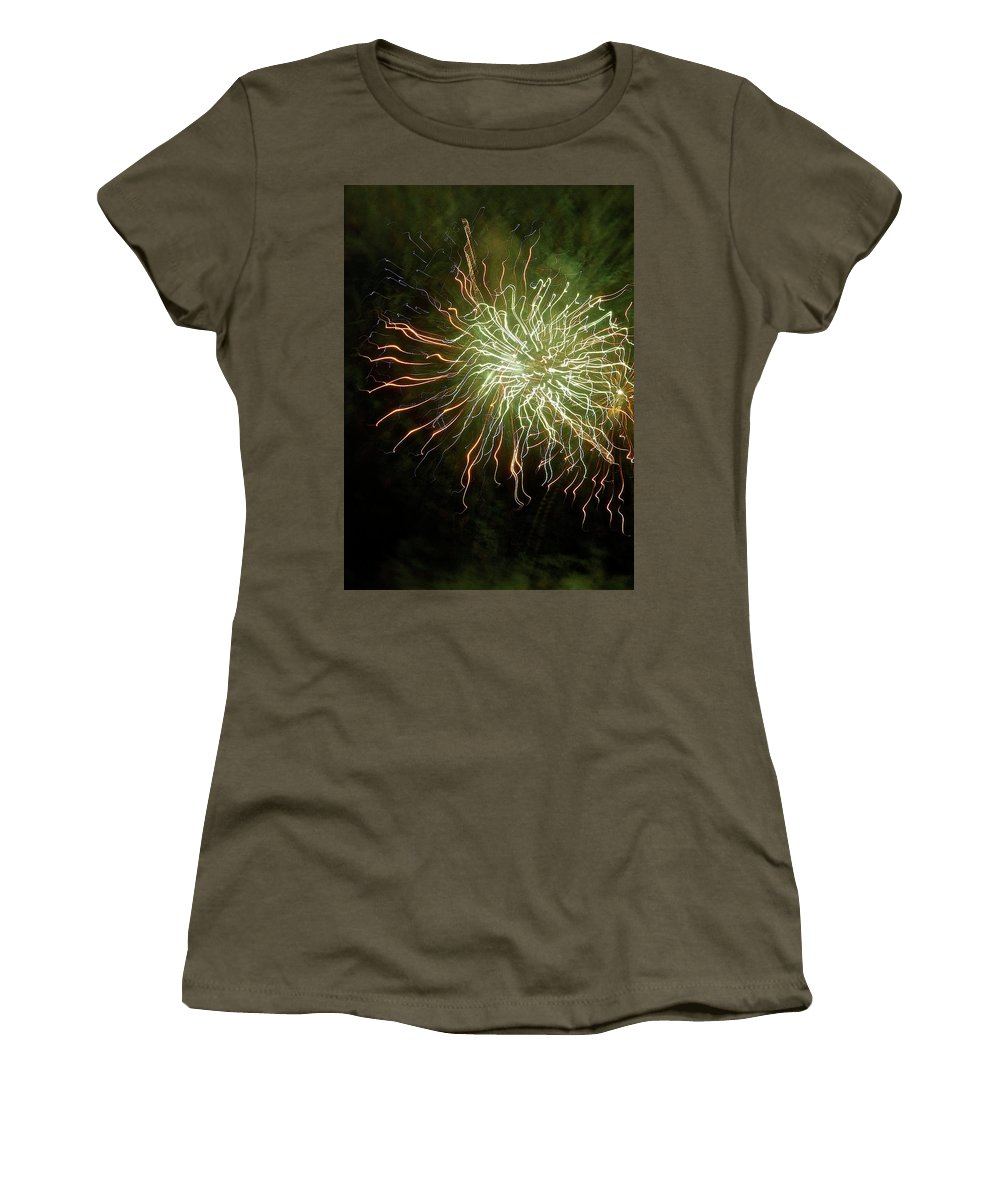 Close Up Photo Fireworks Women's T-Shirt (Athletic Fit) featuring the photograph Fireworks 7 by Joan Reese