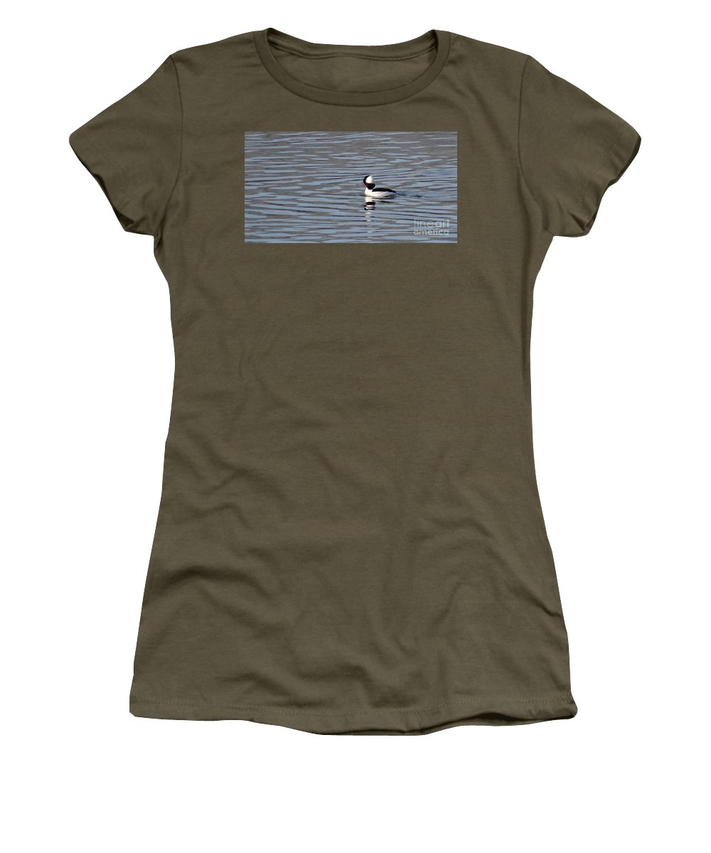 Birds Women's T-Shirt (Athletic Fit) featuring the photograph First Day Of Spring Bufflehead2 by Christopher Plummer