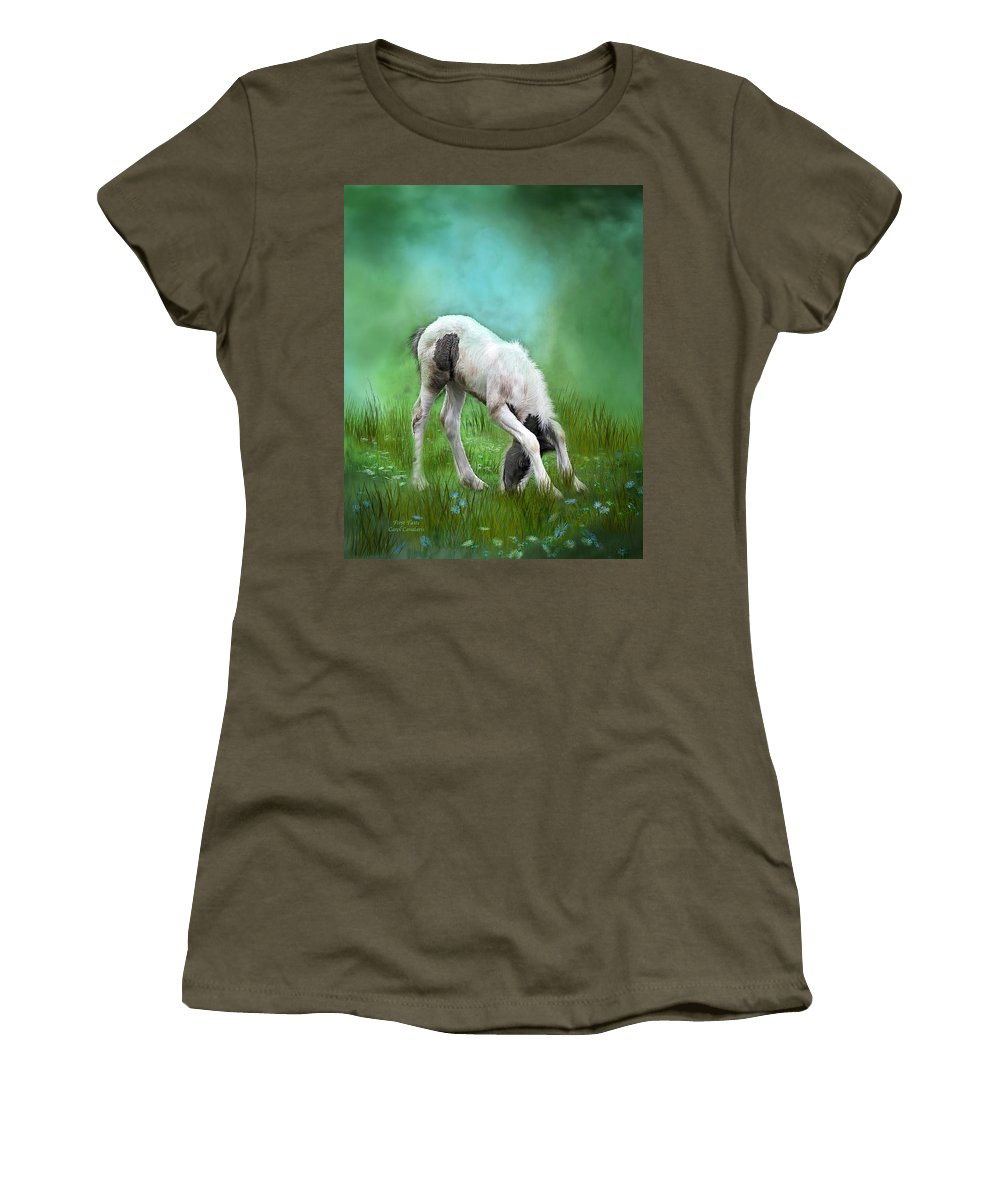 Foal Women's T-Shirt featuring the mixed media First Taste by Carol Cavalaris