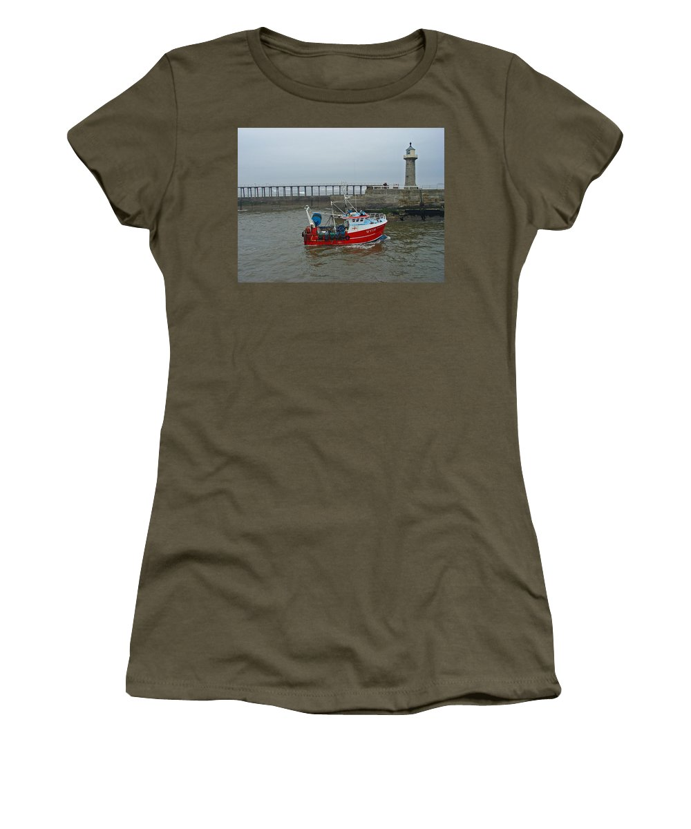 Motion Women's T-Shirt featuring the photograph Fishing Boat Wy110 Emulater - Entering Whitby Harbour by Rod Johnson