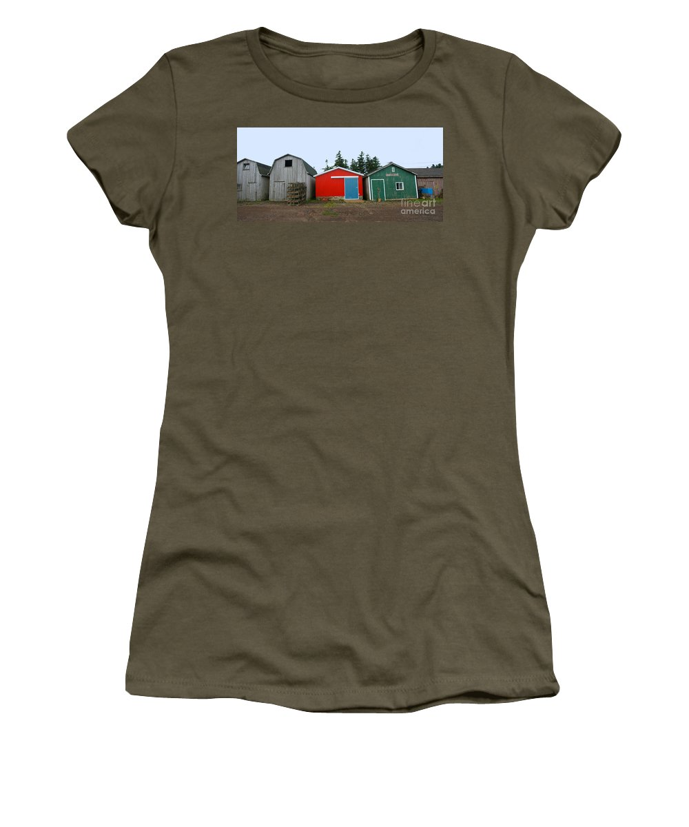 Fishing Women's T-Shirt (Athletic Fit) featuring the photograph Fishing Shacks Prince Edward Island Canada by Thomas Marchessault