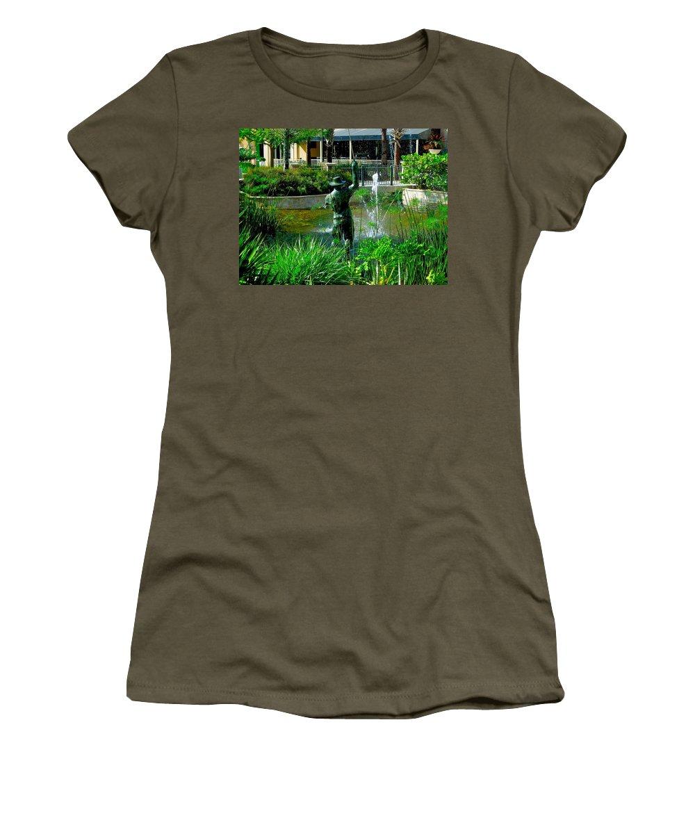 Bridge Women's T-Shirt featuring the photograph Fishing Statue by Dale Chapel