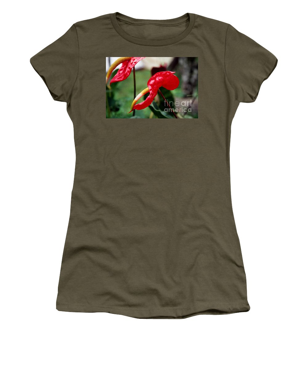 Exotic Flowers Women's T-Shirt (Athletic Fit) featuring the photograph Flamingo Flower by Kathy McClure