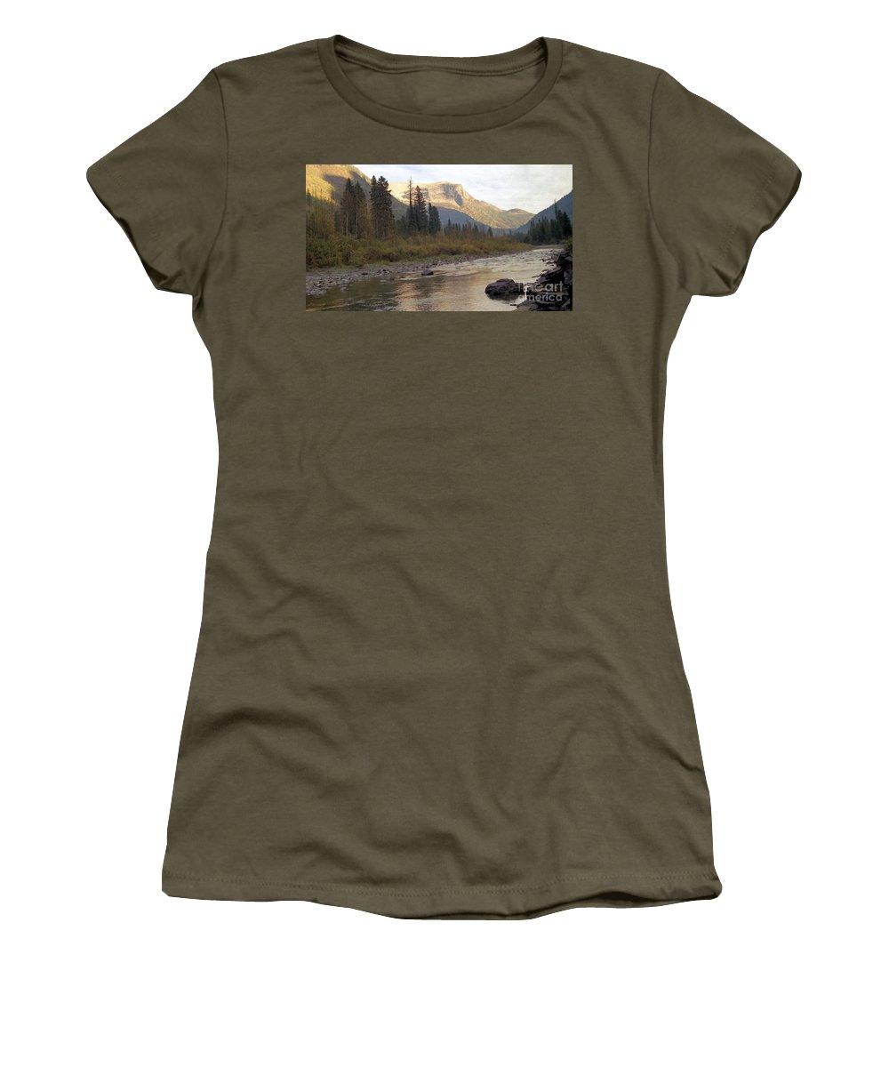 Flathead River Women's T-Shirt featuring the mixed media Flathead River by Richard Rizzo