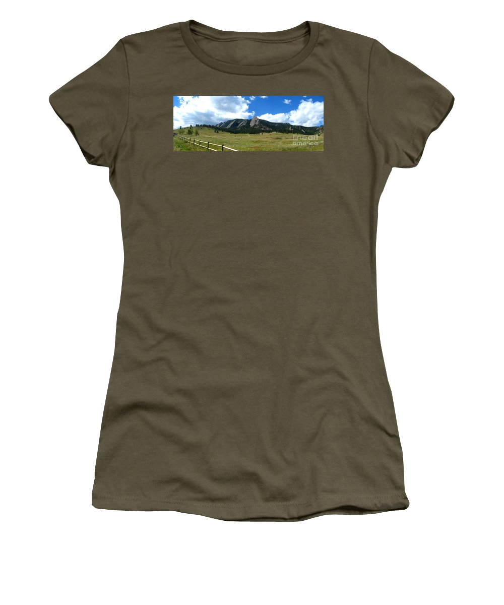Flatiron Women's T-Shirt (Athletic Fit) featuring the photograph Flatirons Panorama by Thomas Marchessault