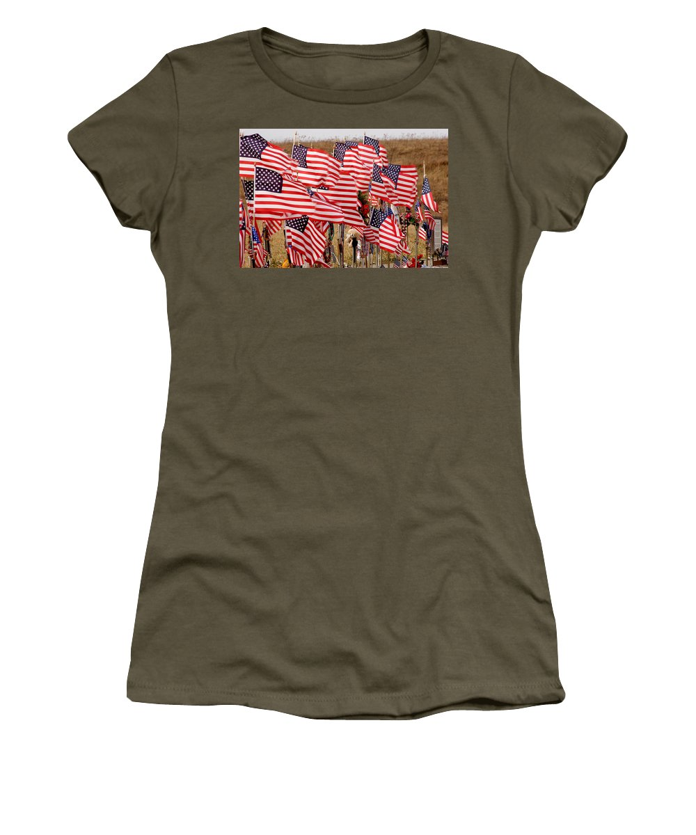 Flags Women's T-Shirt (Athletic Fit) featuring the photograph Flight 93 Flags by Jean Macaluso