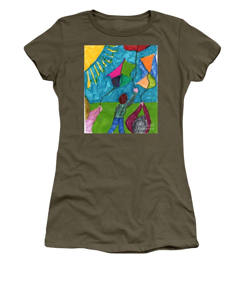 Children Flying Kites Women's T-Shirt featuring the mixed media Flight Of Kites by Elinor Helen Rakowski