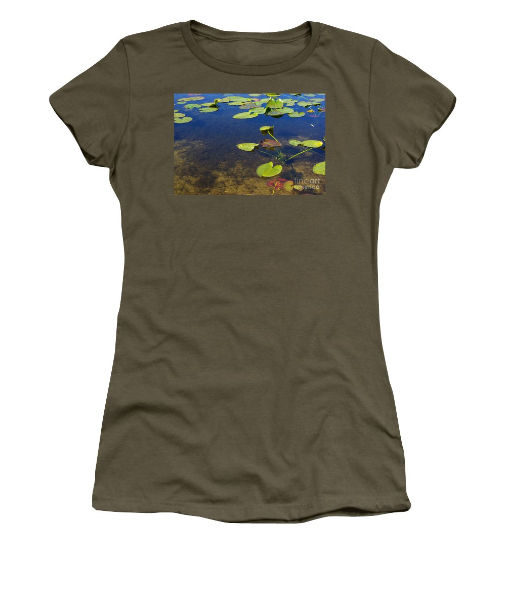Leaves Women's T-Shirt (Athletic Fit) featuring the photograph Floating Leaves by Zal Latzkovich