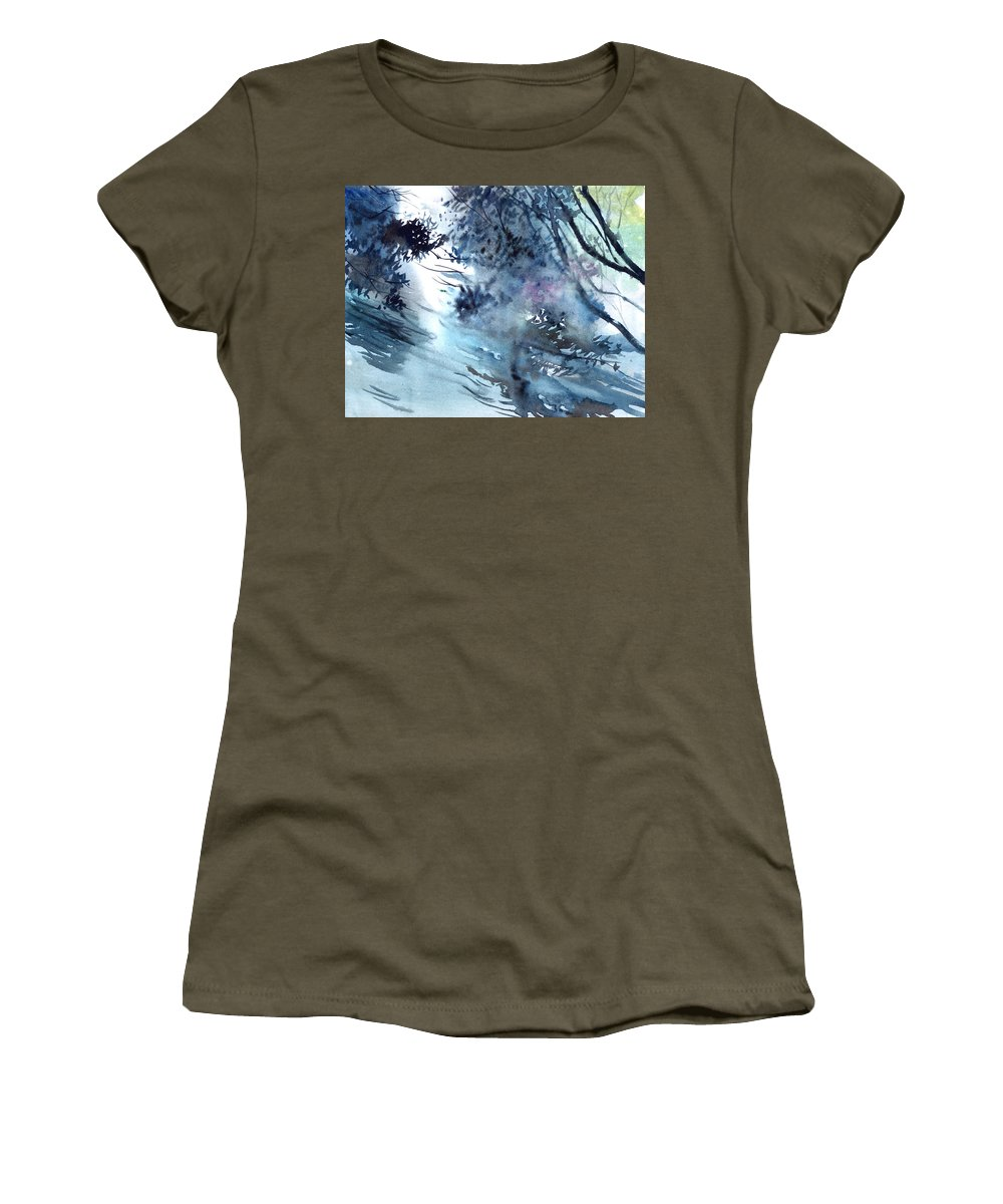 Floods Women's T-Shirt (Athletic Fit) featuring the painting Flooding by Anil Nene