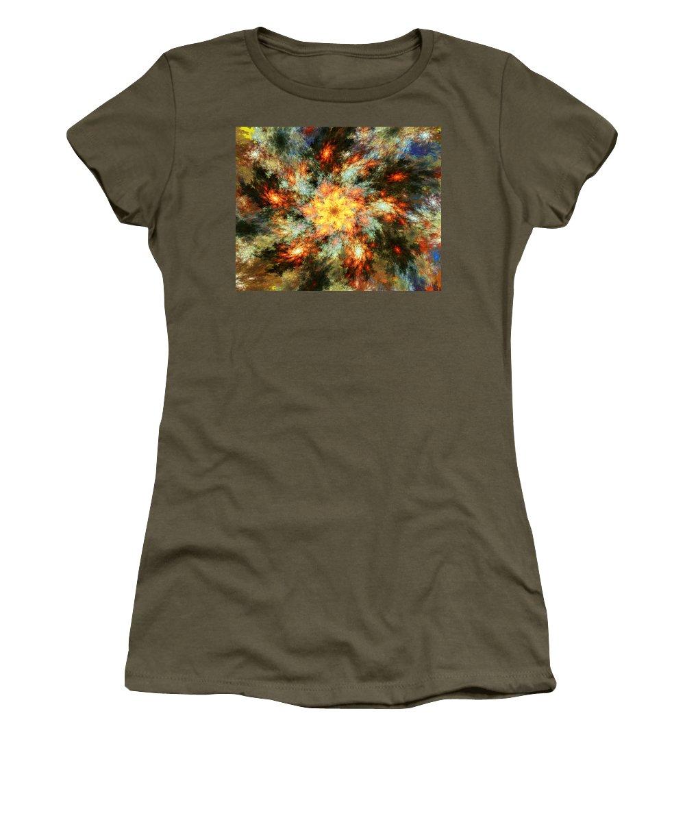 Fine Art Women's T-Shirt featuring the digital art Floral Fantasy 072010 by David Lane