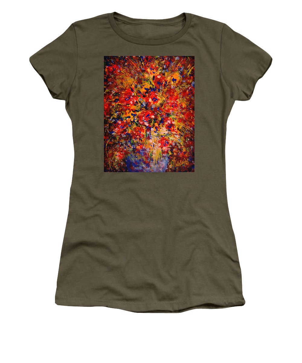 Flowers Women's T-Shirt (Athletic Fit) featuring the painting Floral Feelings by Natalie Holland