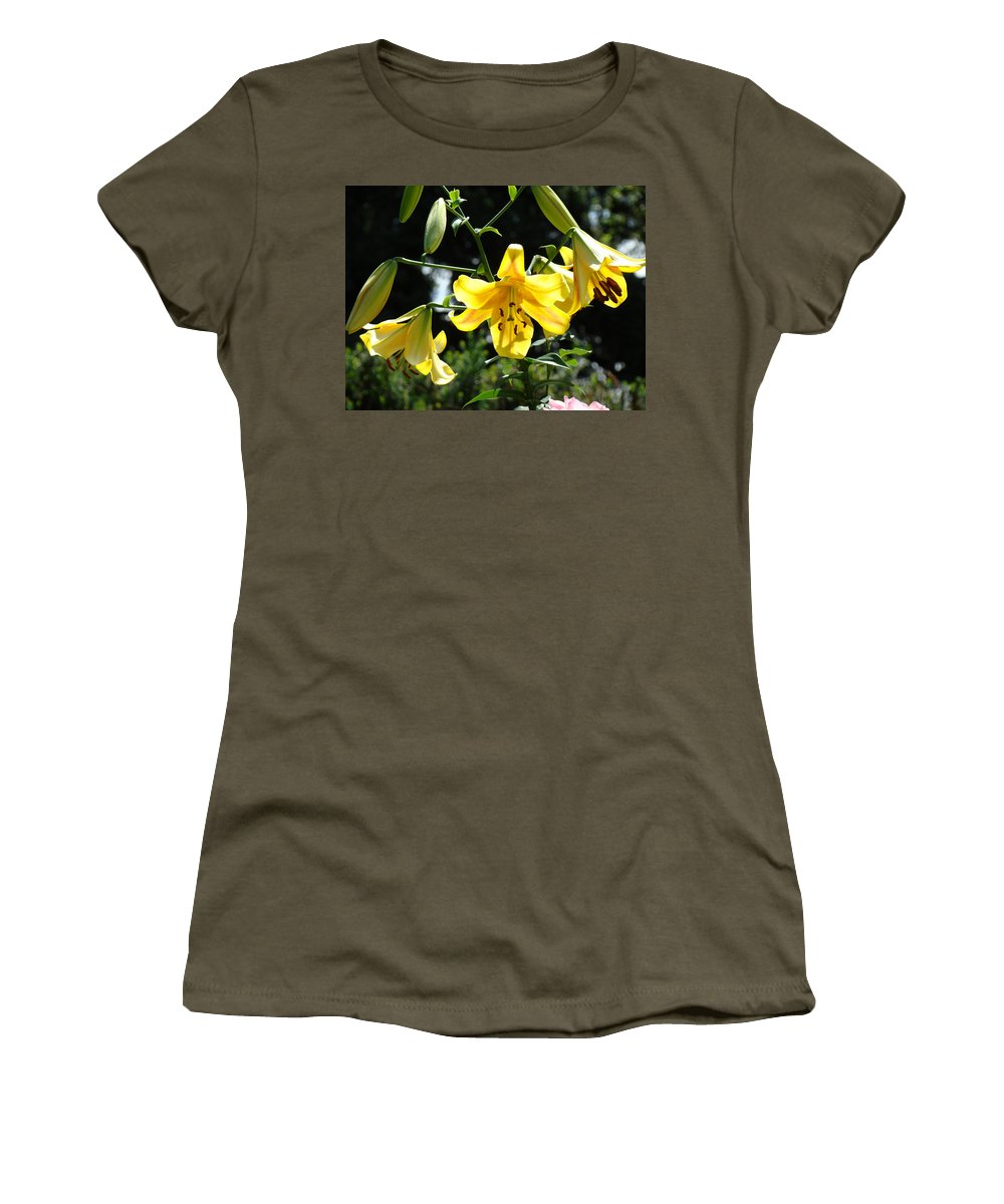 Lilies Women's T-Shirt (Athletic Fit) featuring the photograph Floral Lilies Art Yellow Lily Flowers Giclee Baslee Troutman by Baslee Troutman