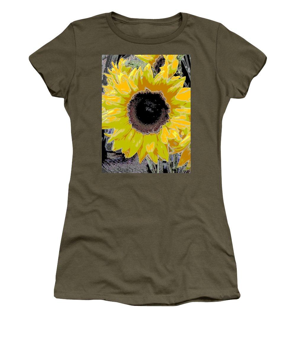 Sunflower Women's T-Shirt (Athletic Fit) featuring the digital art Floral Sunbeam by Tim Allen
