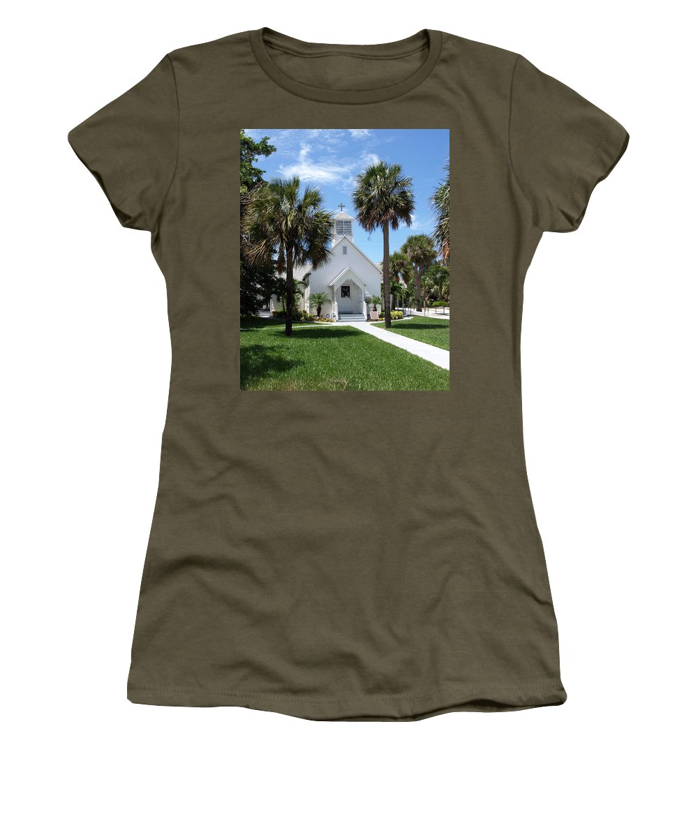 Chapel; Community; Melbourne; Beach; Florida; Melbourne Beach; Church; Congregationalist; Worship; M Women's T-Shirt (Athletic Fit) featuring the photograph Florida Community Chapel by Allan Hughes