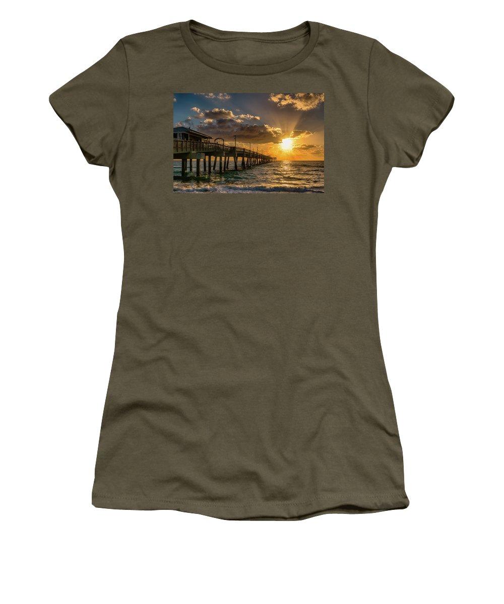 Dania Beach Women's T-Shirt featuring the photograph Florida Sunrise At Dania Beach Pier by Donald Spencer