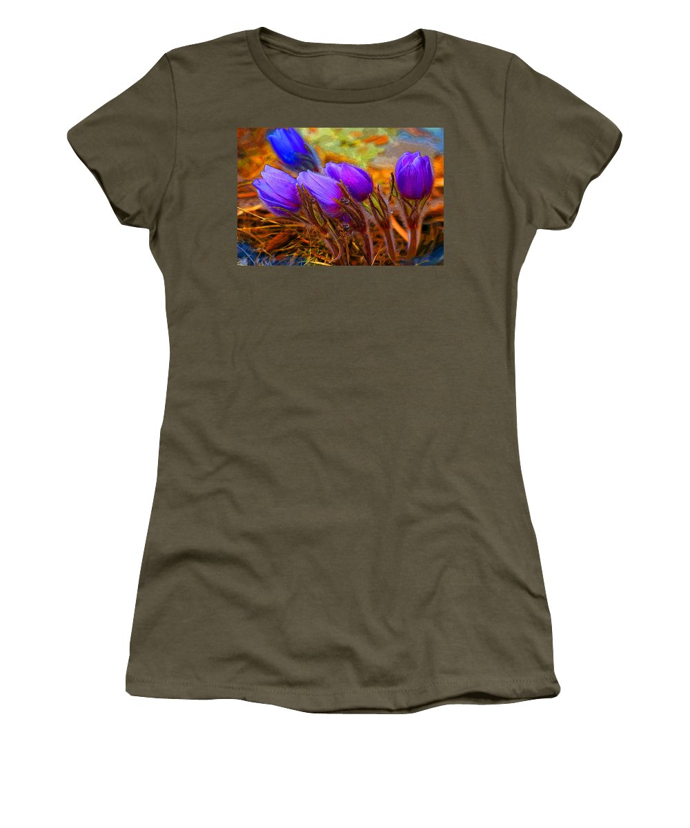Flowers Women's T-Shirt (Athletic Fit) featuring the photograph Flourescent Flowers by Heather Coen