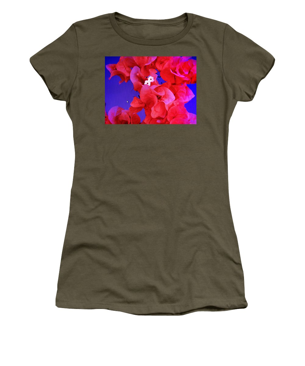 Red Women's T-Shirt featuring the photograph Flower Fantasy by Ian MacDonald