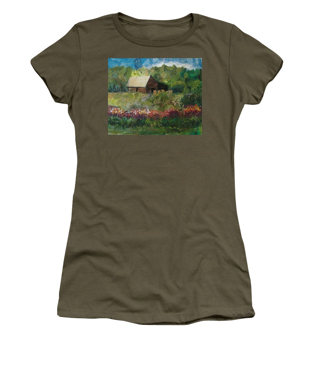 Landscape Women's T-Shirt featuring the mixed media Flower Farm by Pat Snook