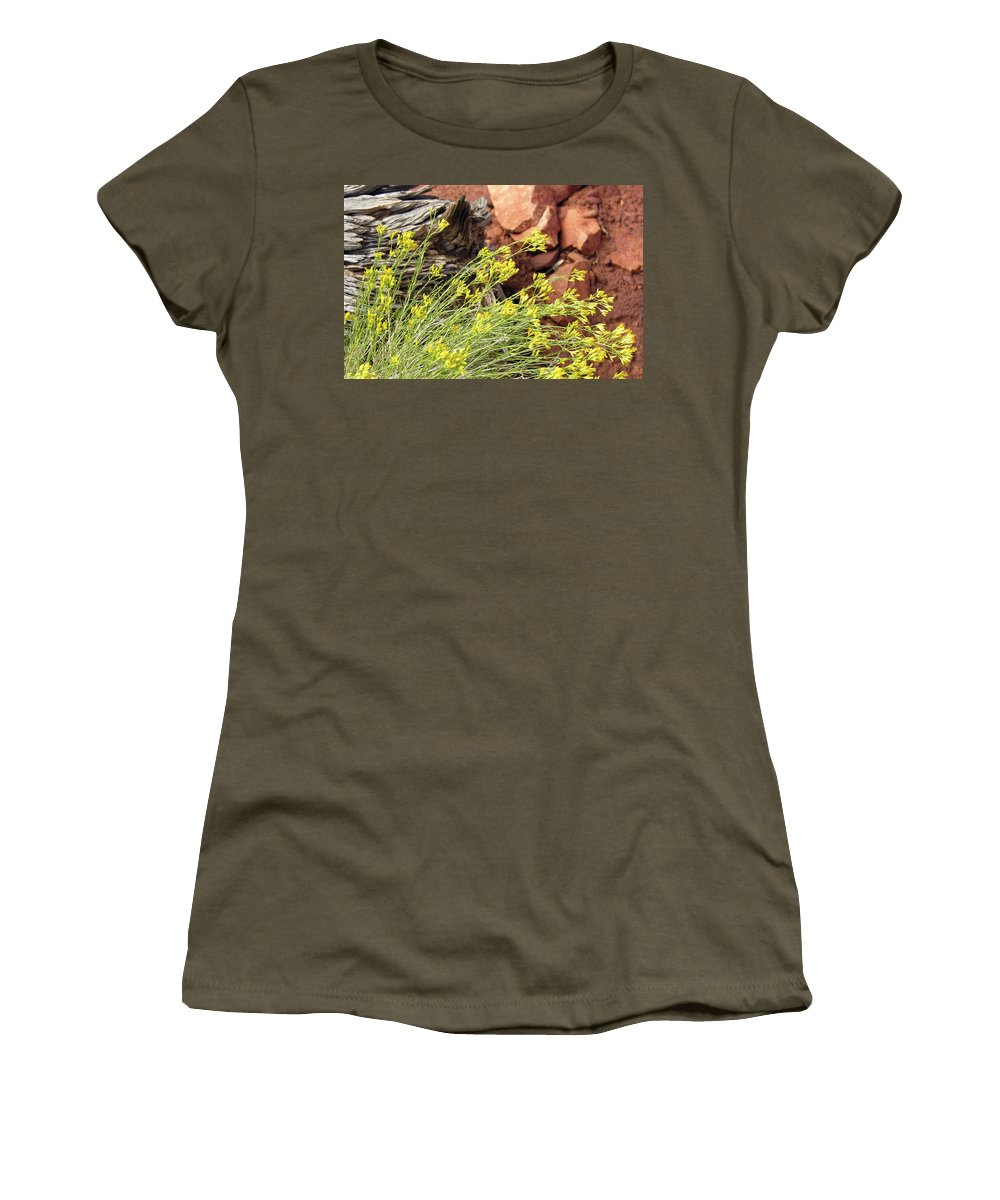 Flower Women's T-Shirt (Athletic Fit) featuring the photograph Flower Wood And Rock by Marilyn Hunt
