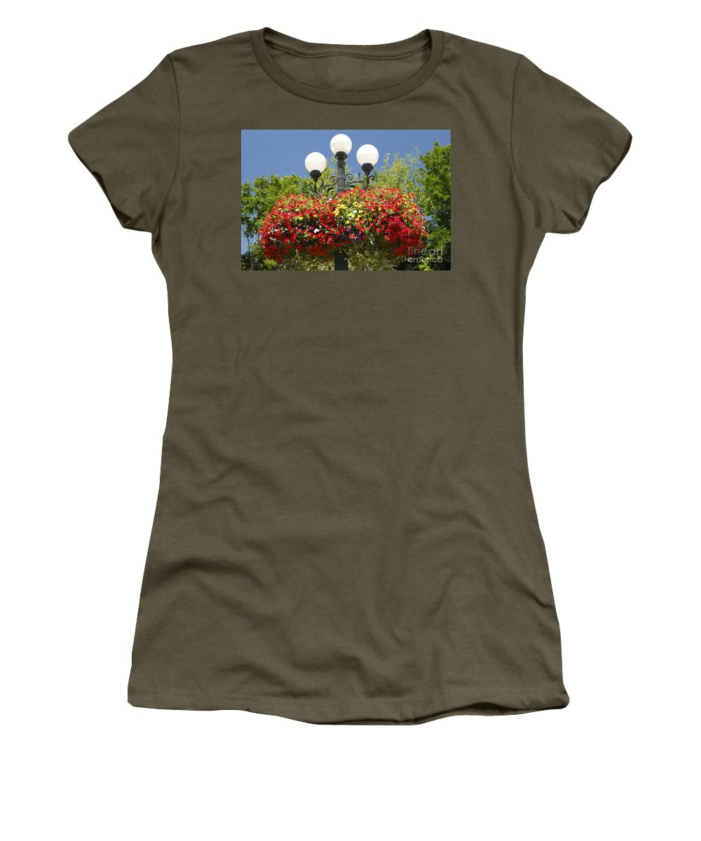 Flowers Women's T-Shirt (Athletic Fit) featuring the photograph Flowered Lamppost by David Lee Thompson