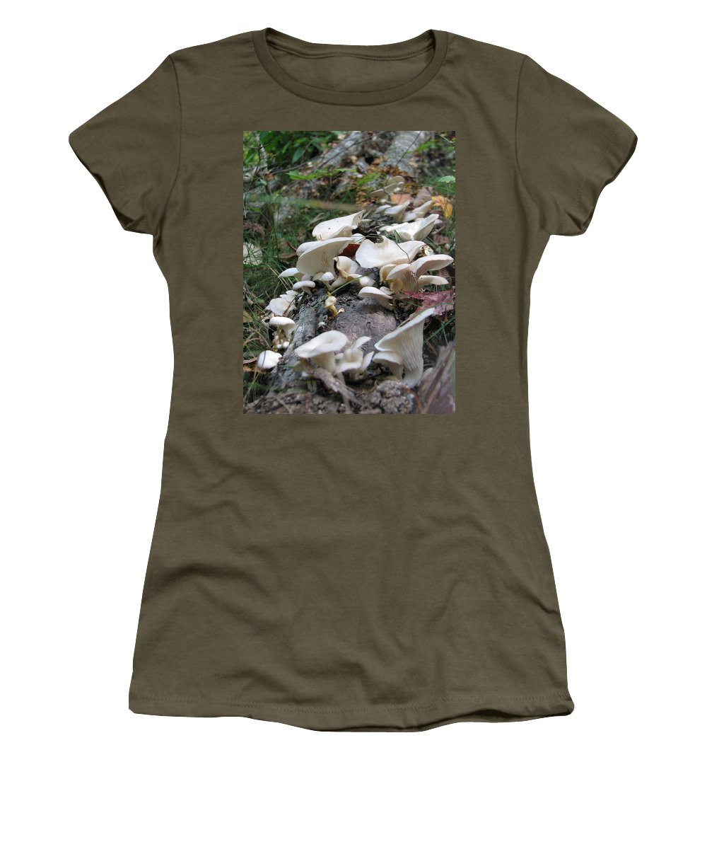 Mushroom Women's T-Shirt (Athletic Fit) featuring the photograph Flowering Fungi by Stacey May