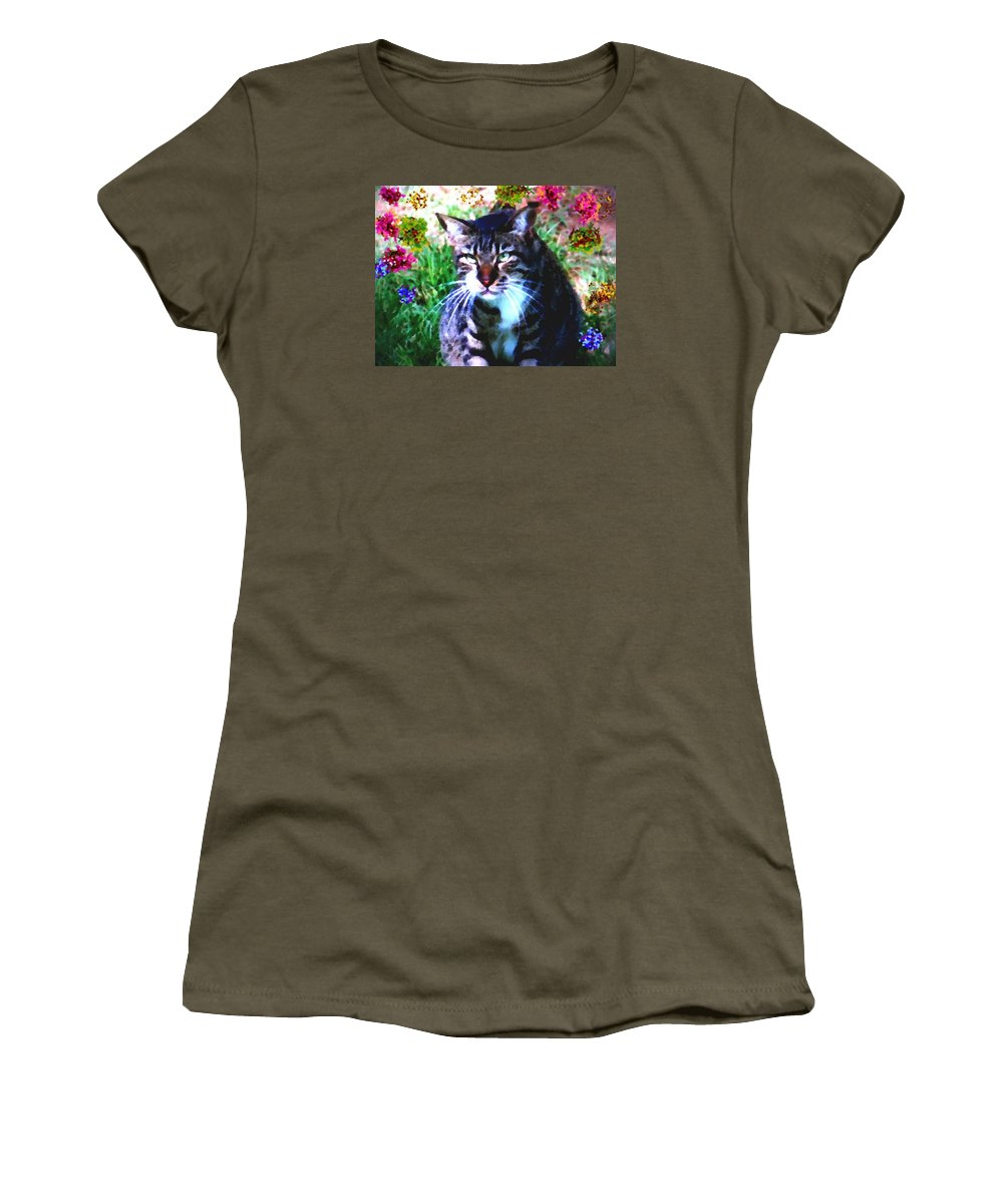 Cat Grey Attention Grass Flowers Nature Animals View Women's T-Shirt featuring the digital art Flowers And Cat by Dr Loifer Vladimir