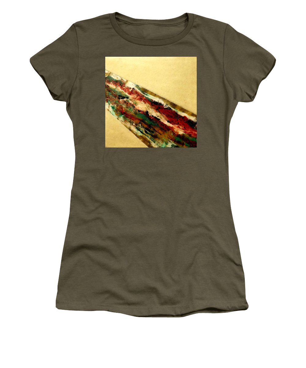 Resin. Acrylic Women's T-Shirt featuring the mixed media Flowing Heat by Lisa Emma