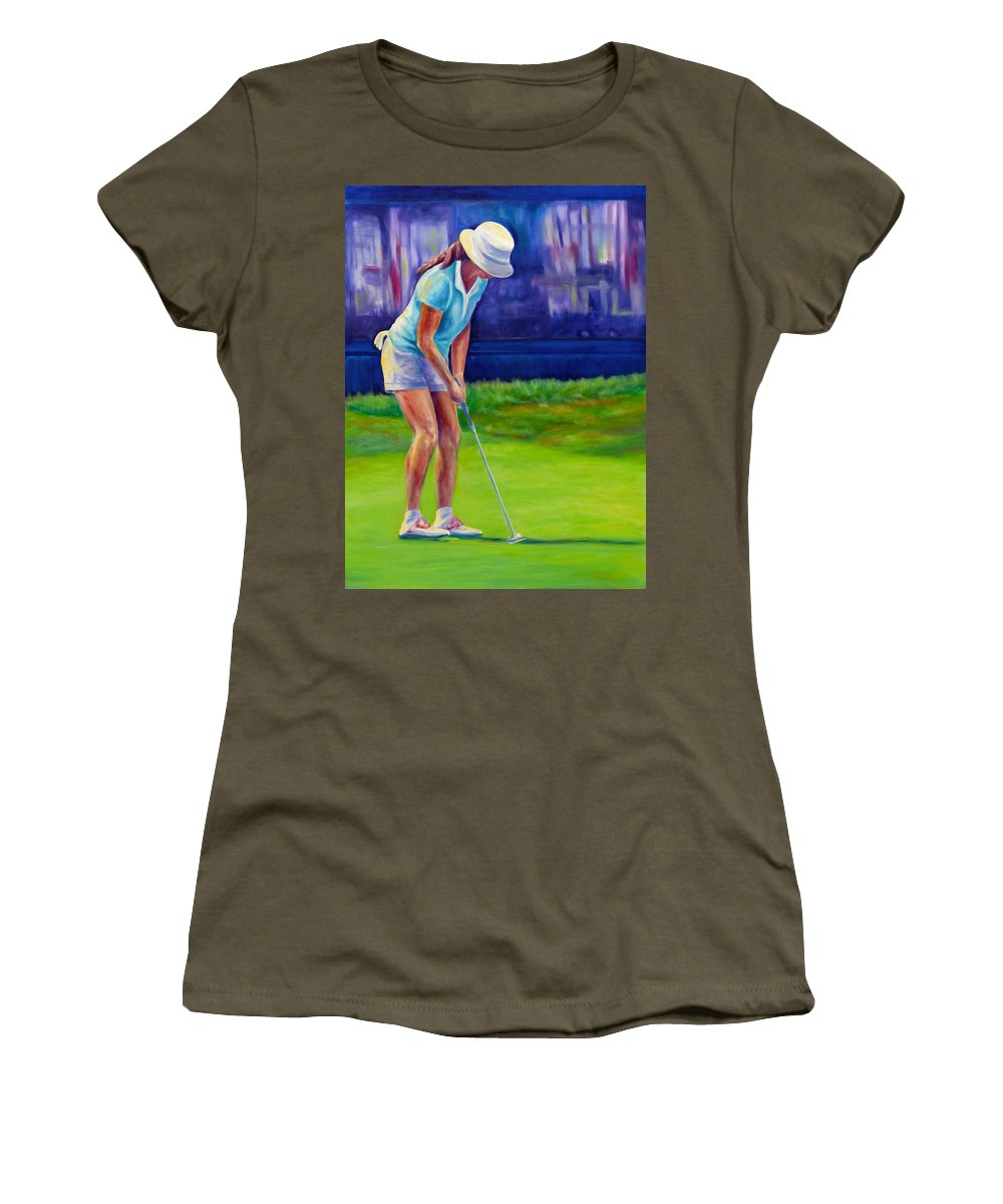 Woman Women's T-Shirt (Athletic Fit) featuring the painting Focus by Shannon Grissom