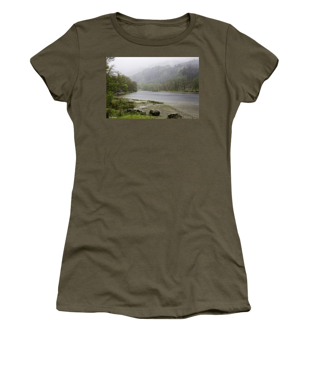 Fog Women's T-Shirt featuring the photograph Foggy Day At Loch Lubnaig by Fran Gallogly
