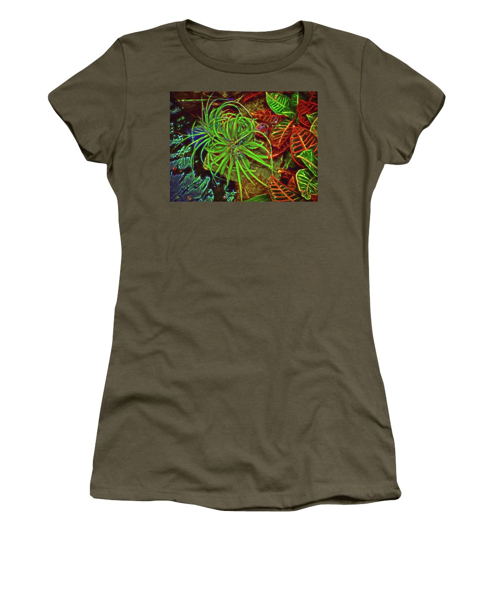 Gardens Women's T-Shirt featuring the photograph Foliage Abstract 3698 by William David Thomas
